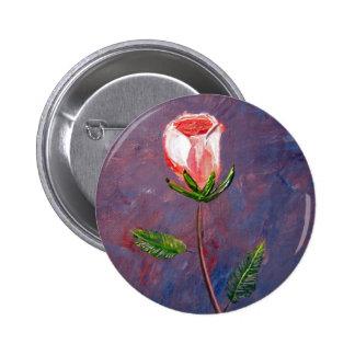 Single Rose 2 Inch Round Button