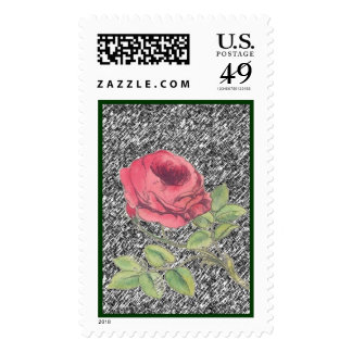 Single rose on gray postage stamps