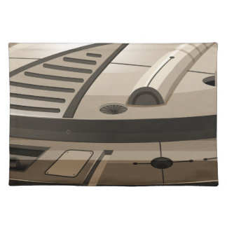 Single round spaceship on white cloth placemat