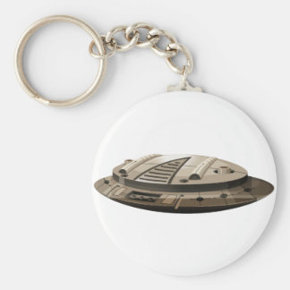 Single round spaceship on white keychain