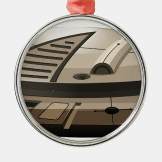 Single round spaceship on white metal ornament