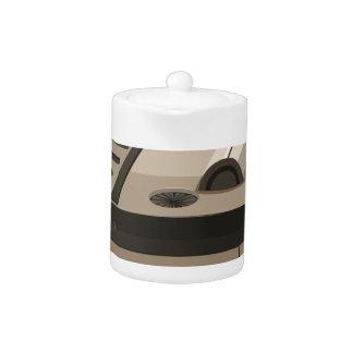 Single round spaceship on white teapot