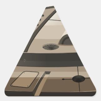 Single round spaceship on white triangle sticker