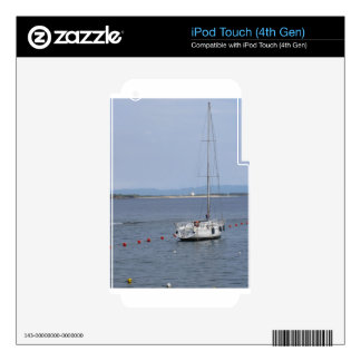 Single sailboat lies at anchor in a harbor iPod touch 4G decals
