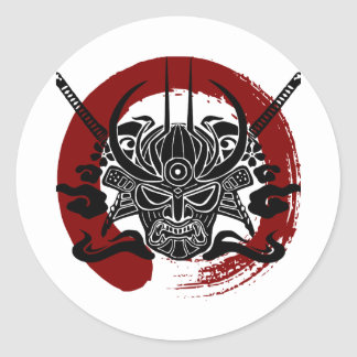 Single Samurai Enso Blood Circle Classic Round Sticker