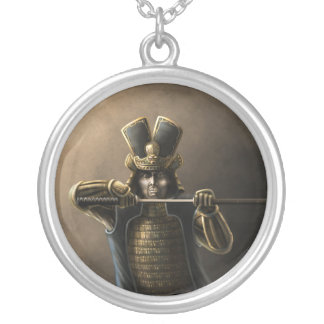 Single Samurai Round Pendant Necklace