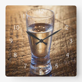 Single shot of Tequila on wood table Square Wallclock