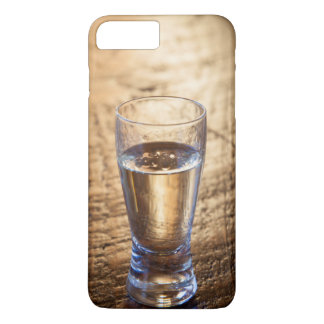Single shot of Tequila on wood table iPhone 7 Plus Case