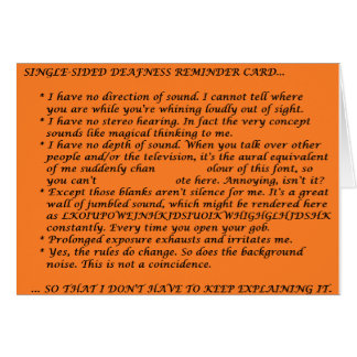 Single-Sided Deafness Crib Sheet Greeting Card