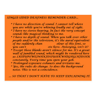 Single-Sided Deafness Crib Sheet Postcard