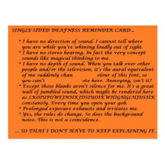 Single-Sided Deafness Crib Sheet Postcard