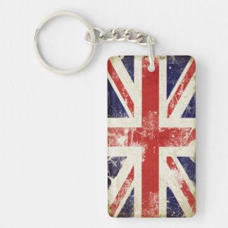 Single Sided Keychain with Great Britain Flag