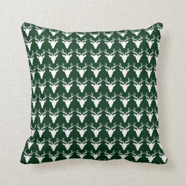 simply_rantastic Single Sided White Deer Green/White Pillow