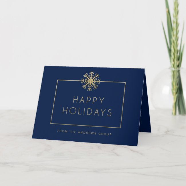 Single Snowflake Busines Holiday Greeting Card