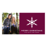 Single Snowflake with Customizable Colors Photo Greeting Card