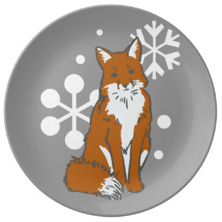 Single Snowy Winter Red Fox Pattern Dinner Plate