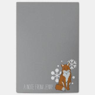 Single Snowy Winter Red Fox Pattern Post-it Notes