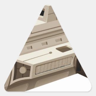 Single spaceship on white background triangle sticker