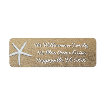 Beach Themed Single Starfish in Beach Sand Return Address Label