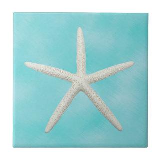 Single Starfish on Aqua Blue Ceramic Tile