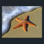 "Single Starfish on Beach Photo Print<br><div class=""desc"">Striking beach photography,  a bright orange starfish on the waters edge about to be covered by a gentle wave.</div>"