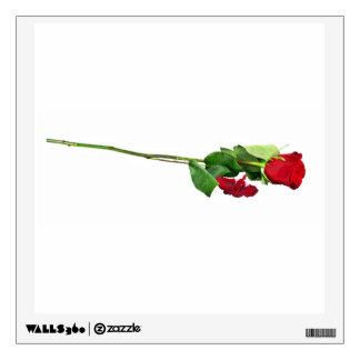 Single Stemmed Red Rose And Petals Wall Decal