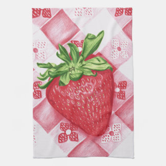 Single Strawberry Art Kitchen Towel