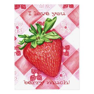 Single Strawberry Art Postcard
