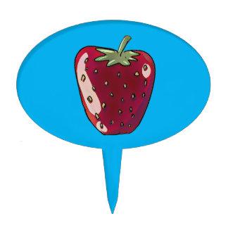 single strawberry cartoon style fruit illustration cake topper