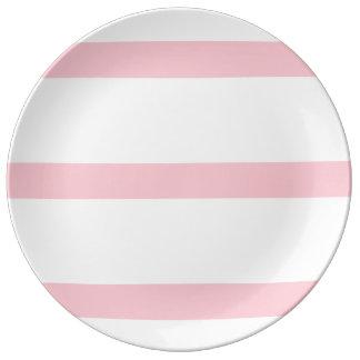 Single Stripe - Pink on White Dinner Plate