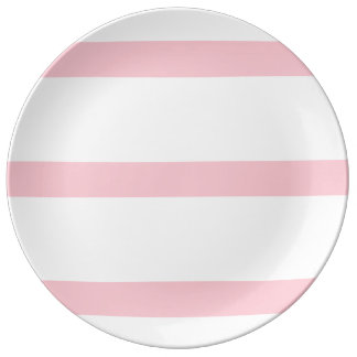 Single Stripe - Pink on White Porcelain Plate