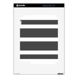 Single Stripe - White on Gray Skins For The iPad 2