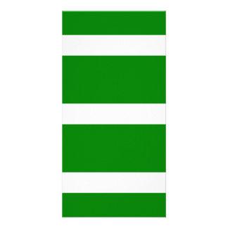Single Stripe - White on Green Photo Card