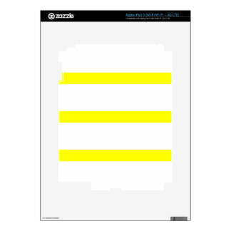 Single Stripe - Yellow on White Decals For iPad 3