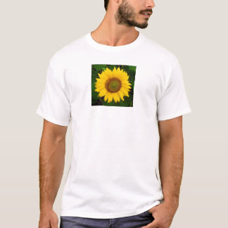 Single Sunflower Green Leaves Yellow Flower T-Shirt