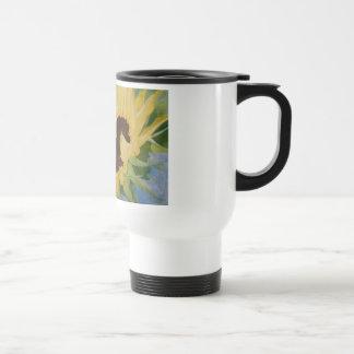 single sunflower travel mug