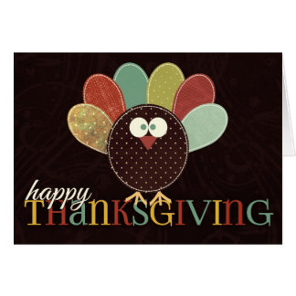 Single Thanksgiving Patchwork Turkey Card