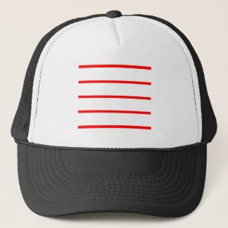 Single Thin Stripe - Red on White Trucker Hat