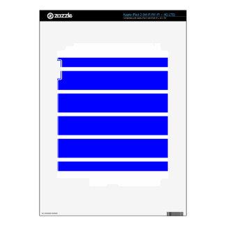 Single Thin Stripe - White on Blue iPad 3 Skins