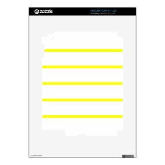 Single Thin Stripe - Yellow on White Skins For iPad 2