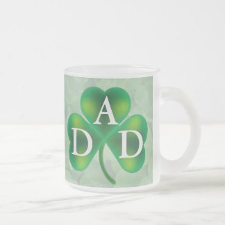 Single Three Leaf Clover on Clover Monogram Frosted Glass Coffee Mug
