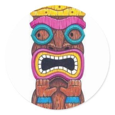 flipflop8253 single tiki mask classic round sticker