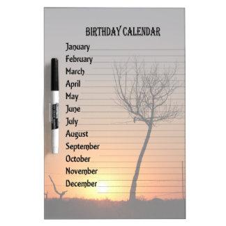 Single tree birthday calendar Dry-Erase whiteboard