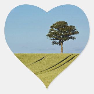 Single tree on a grain field heart sticker