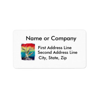 Single Tree Red Yellow Green Rasta Style Personalized Address Labels