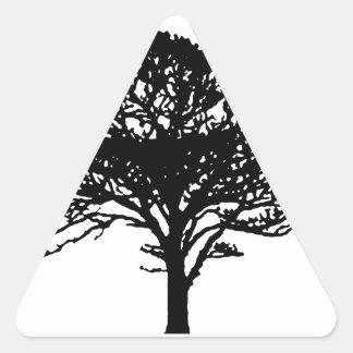 Single Tree Silhouette Triangle Sticker
