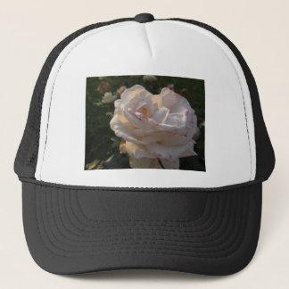 Single white and red streaked rose flower trucker hat