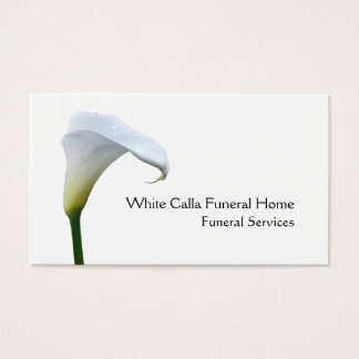 Single white arum lily funeral director business card