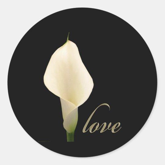Single white calla lily classic round sticker