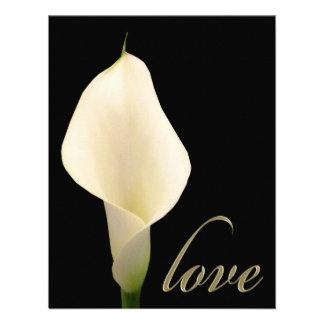 Single white calla lily personalized invites